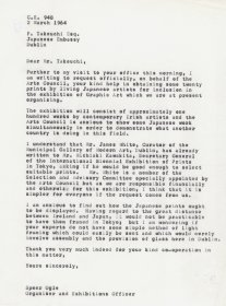 Letter from Speer Ogle, Organiser and Exhibitions Officer to Mr F. Takeuchi, Embassy of Japan.